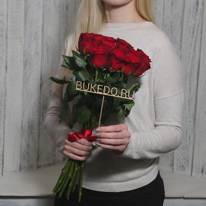 Роза Кения (красный, 50 см) — 15 шт., Красная лента — 1 шт.