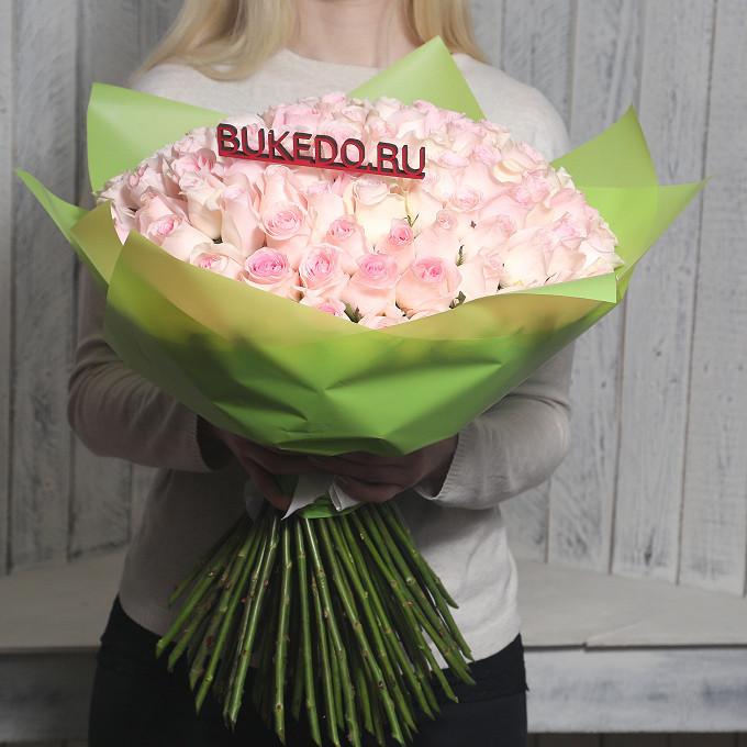 Розовая лента — 1 шт., Упаковка Матовая пленка зеленая — 1 шт., Роза Кения (нежно-розовый, 50 см) — 101 шт.