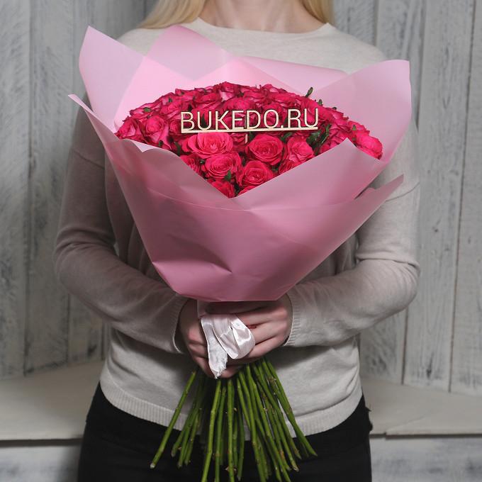 Ярко-розовые розы Кения, 50 см