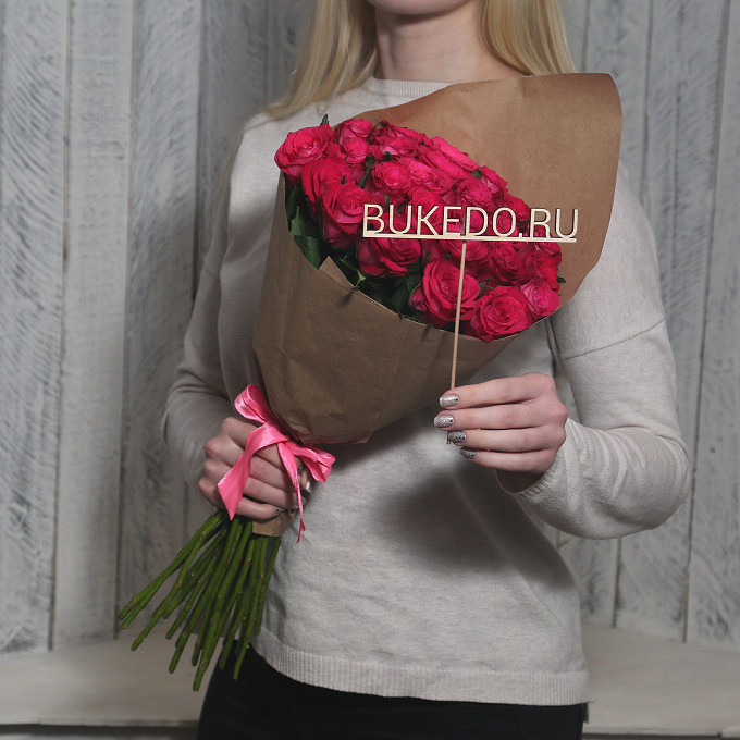 Розовая лента — 1 шт., Упаковка Крафт однотонный — 1 шт., Роза Кения (ярко-розовый, 50 см) — 25 шт.