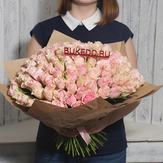 Розовая лента — 1 шт., Упаковка Крафт однотонный — 1 шт., Роза Кения (нежно-розовый, 40 см) — 101 шт.