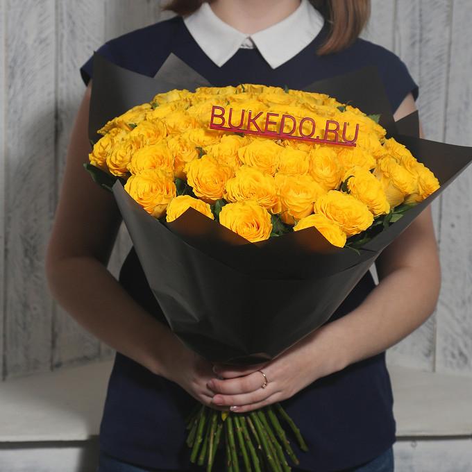 Роза Кения (желтый, 40 см) — 51 шт., Желтая лента — 1 шт., Упаковка Матовая пленка черная — 1 шт.