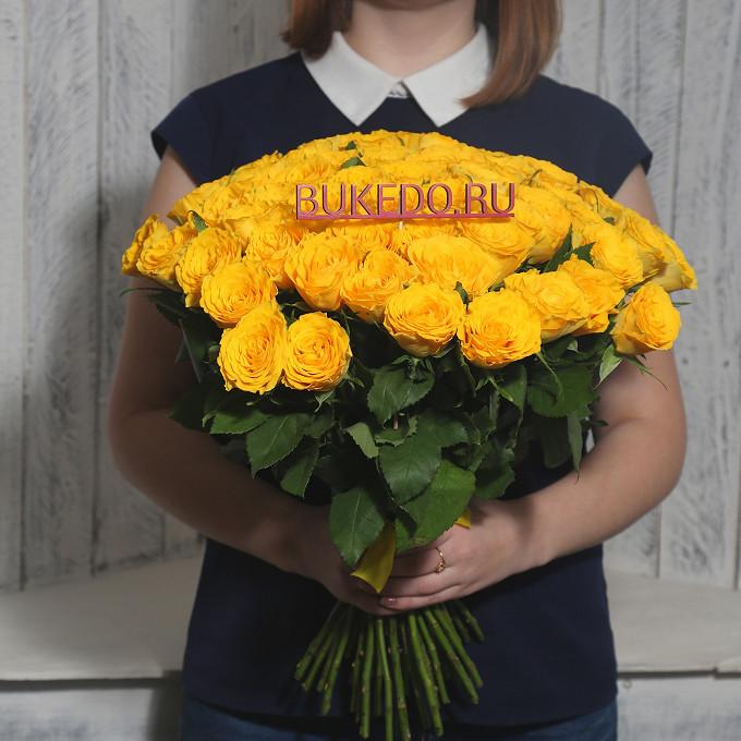 Роза Кения (желтый, 40 см) — 51 шт., Желтая лента — 1 шт.