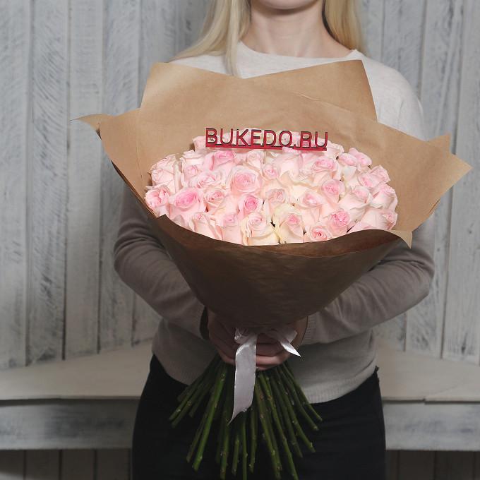 Розовая лента — 1 шт., Упаковка Крафт однотонный — 1 шт., Роза Кения (нежно-розовый, 50 см) — 51 шт.