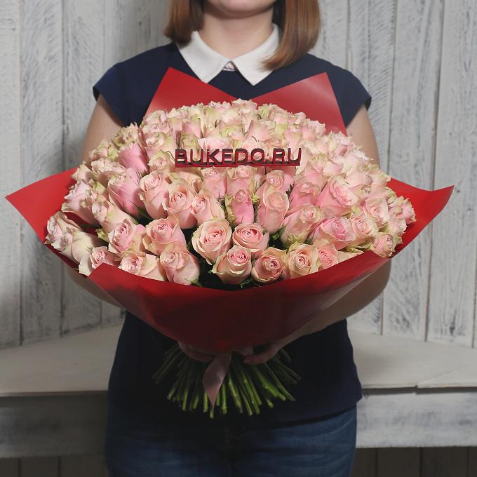 Розовая лента — 1 шт., Упаковка Матовая пленка красная — 1 шт., Роза Кения (нежно-розовый, 40 см) — 101 шт.