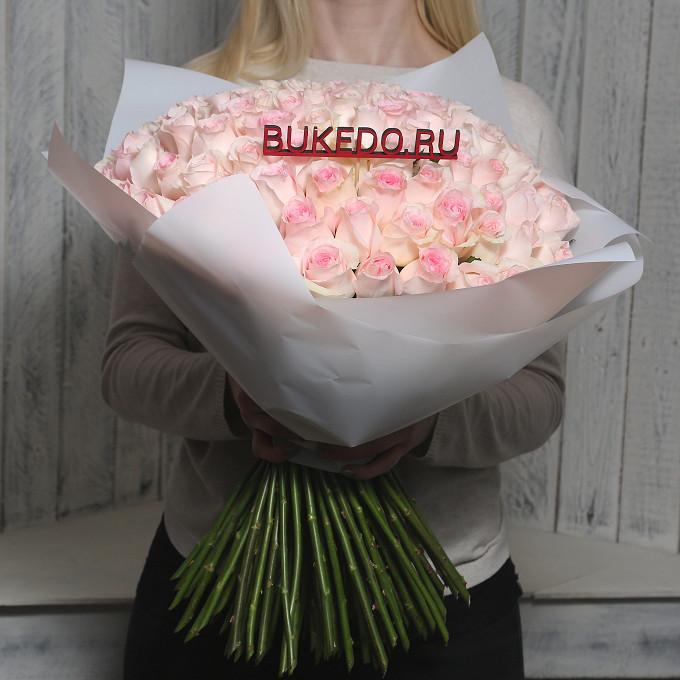 Розовая лента — 1 шт., Упаковка Матовая пленка белая — 1 шт., Роза Кения (нежно-розовый, 50 см) — 101 шт.