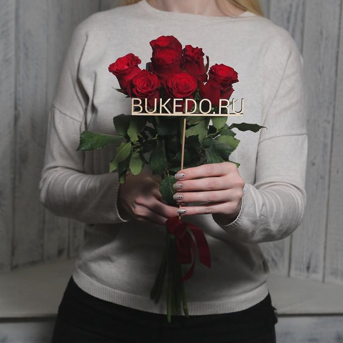 Красная лента — 1 шт., Роза Кения (красный, 50 см) — 7 шт.
