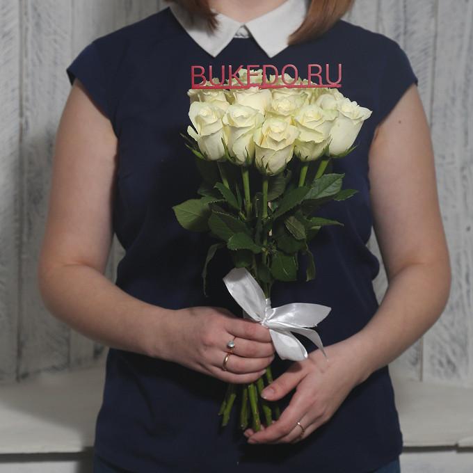 Белая лента — 1 шт., Роза Кения (белый, 40 см) — 15 шт.