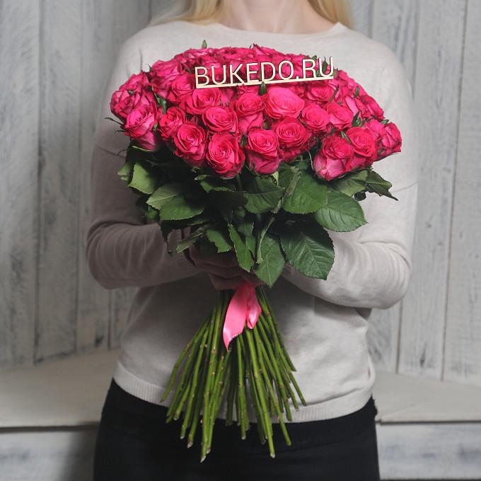 Розовая лента — 1 шт., Роза Кения (ярко-розовый, 50 см) — 51 шт.