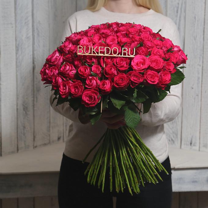 Розовая лента — 1 шт., Роза Кения (ярко-розовый, 50 см) — 101 шт.