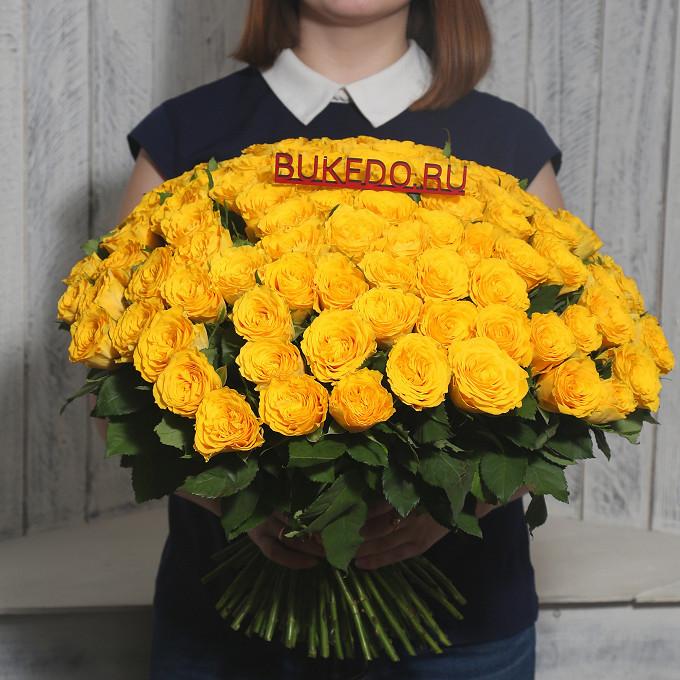 Желтая лента — 1 шт., Роза Кения (желтый, 40 см) — 101 шт.