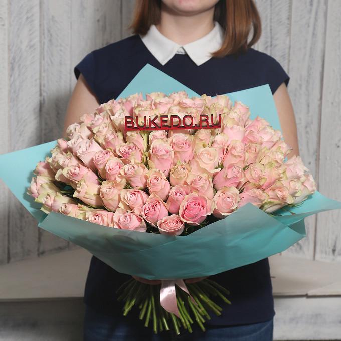 Розовая лента — 1 шт., Упаковка Матовая пленка бирюзовая — 1 шт., Роза Кения (нежно-розовый, 40 см) — 101 шт.