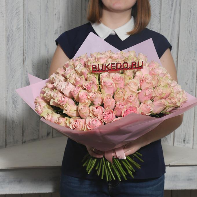 Розовая лента — 1 шт., Упаковка Матовая пленка розовая — 1 шт., Роза Кения (нежно-розовый, 40 см) — 101 шт.
