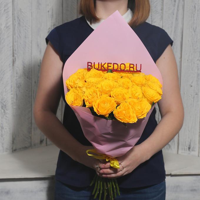 Желтая лента — 1 шт., Упаковка Матовая пленка розовая — 1 шт., Роза Кения (желтый, 40 см) — 25 шт.