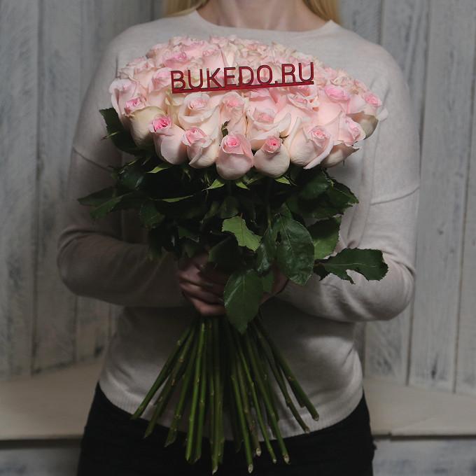 Роза Кения (нежно-розовый, 50 см) — 51 шт., Розовая лента — 1 шт.