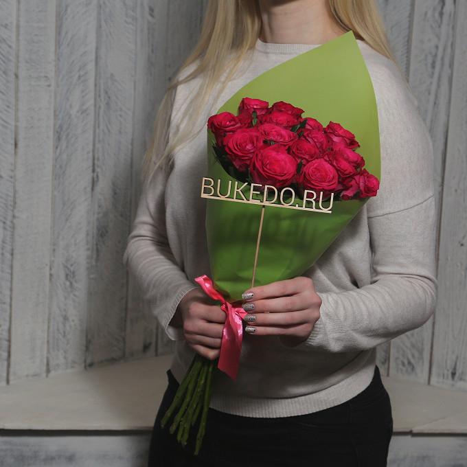 Розовая лента — 1 шт., Упаковка Матовая пленка зеленая — 1 шт., Роза Кения (ярко-розовый, 50 см) — 15 шт.