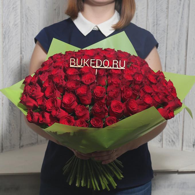 Красная лента — 1 шт., Упаковка Матовая пленка зеленая — 1 шт., Роза Кения (красный, 40 см) — 101 шт.
