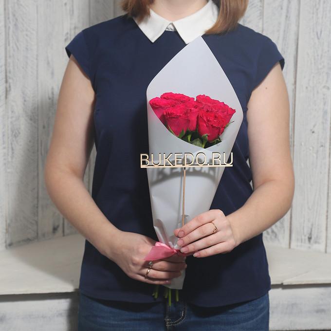 Ярко-розовые розы Кения, 40 см