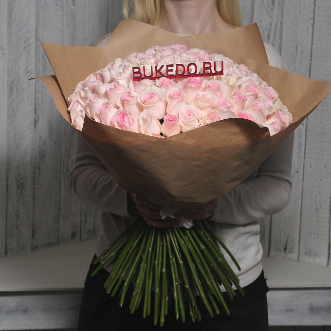 Розовая лента — 1 шт., Упаковка Крафт однотонный — 1 шт., Роза Кения (нежно-розовый, 50 см) — 101 шт.