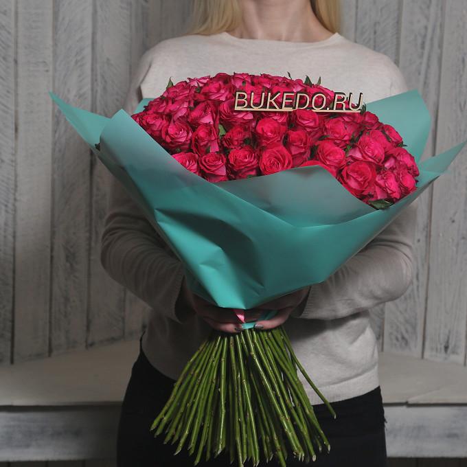 Розовая лента — 1 шт., Упаковка Матовая пленка бирюзовая — 1 шт., Роза Кения (ярко-розовый, 50 см) — 101 шт.