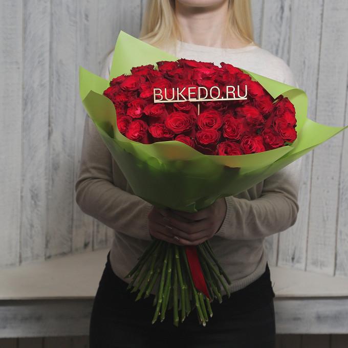 Красная лента — 1 шт., Упаковка Матовая пленка зеленая — 1 шт., Роза Кения (красный, 50 см) — 51 шт.