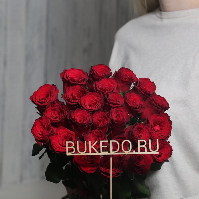 Роза Кения (красный, 50 см) — 25 шт., Красная лента — 1 шт.