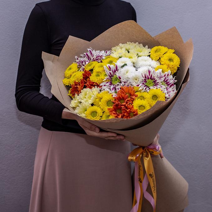 Моно из цветных хризантем