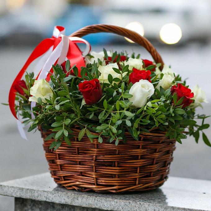 Корзина 25 бело-красных роз в зелени
