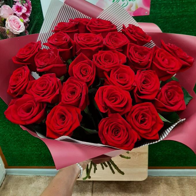 25 бордовых местных роз