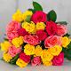 Букет из: роза (ярко-розовый, 40 см) — 6 шт., роза (розовый, 40 см) — 7 шт., роза (желтый, 40 см) — 14 шт., желтая лента — 1 шт. - Яркий микс - фото 2