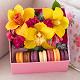 Букет из: альстромерия (розовый) — 1 шт., пиафлор — 1 шт., коробка (прямоугольник, средний) — 1 шт., рускус — 1 шт., эвкалипт — 1 шт., гвоздика кустовая (ярко-сиреневый) — 2 шт., орхидея цимбидиум 1 бутон (желтый) — 3 шт., макаронс 1 шт. — 7 шт. - Коробка с пирожными Macaron и тремя орхидеями цимбидиум - фото 2