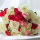 Букет из: белая лента — 1 шт., гвоздика кустовая (розовый) — 1 шт., роза (белый, 50 см) — 11 шт., гвоздика кустовая (красный) — 2 шт., гвоздика кустовая (ярко-сиреневый) — 1 шт. - Букет с розами и кустовой гвоздикой - фото 2
