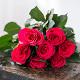 Букет из: роза (ярко-розовый, 40 см) — 7 шт., розовая лента — 1 шт. - Букет малиновых роз - фото 4