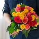 Букет из: роза (ярко-розовый, 40 см) — 6 шт., роза (розовый, 40 см) — 7 шт., роза (желтый, 40 см) — 14 шт., желтая лента — 1 шт. - Яркий микс - фото 5