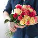 Букет из: роза (кремовый, 40 см) — 7 шт., роза (розовый, 40 см) — 7 шт., роза (ярко-розовый, 40 см) — 7 шт., розовая лента — 1 шт. - Нежный микс - фото 3