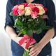 Букет из: роза (кремовый, 40 см) — 7 шт., роза (розовый, 40 см) — 7 шт., роза (ярко-розовый, 40 см) — 7 шт., розовая лента — 1 шт. - Нежный микс - фото 5