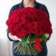 Букет из: роза (красный, 40 см) — 51 шт., красная лента — 1 шт. - 51/101 красная роза - фото 4