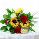 Букет из: роза (красный, 50 см) — 3 шт., рускус — 8 шт., красная лента — 1 шт., подсолнух (желтый) — 3 шт., роза (белый, 50 см) — 3 шт. - Букет с подсолнухами и разноцветными розами - фото 4