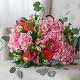 Букет из: эвкалипт — 3 шт., розовая лента — 1 шт., роза пионовидная (персиковый) — 3 шт., лилия ветка (красный) — 1 шт., гортензия (розовый) — 3 шт., альстромерия (белый) — 5 шт. - Букет с пионовидными розами, лилией, гортензией - фото 4