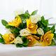 Букет из: рускус — 9 шт., желтая лента — 1 шт., орхидея цимбидиум 1 бутон (желтый) — 5 шт., роза (белый, 50 см) — 8 шт. - Букет с белыми розами и орхидеей цимбидиум - фото 5