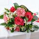 Букет из: красная лента — 1 шт., роза (красный, 50 см) — 5 шт., альстромерия (белый) — 4 шт., роза пионовидная (розовый) — 4 шт. - Букет с красными и пионовидными розами - фото 6