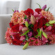 Букет из: красная лента — 1 шт., роза (красный, 50 см) — 11 шт., хризантема кустовая (коралловый) — 5 шт., тюльпан (фиолетовый) — 7 шт., лилия ветка (белый) — 3 шт. - Букет с тюльпанами, лилией, розами - фото 4