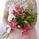 Букет из: белая лента — 1 шт., лилия ветка (розовый) — 5 шт. - Букет с лилиями - фото 3
