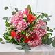 Букет из: эвкалипт — 3 шт., розовая лента — 1 шт., роза пионовидная (персиковый) — 3 шт., лилия ветка (красный) — 1 шт., гортензия (розовый) — 3 шт., альстромерия (белый) — 5 шт. - Букет с пионовидными розами, лилией, гортензией - фото 5