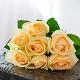 Букет из: роза (кремовый, 40 см) — 7 шт., кремовая лента — 1 шт. - Букет кремовых роз - фото 5